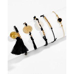 NWT Shein 5 Piece Bracelet Set Gold & Black